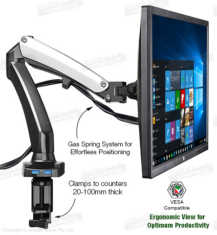 Monitor desk clamp has two adjustable arms and holds a variety of monitors